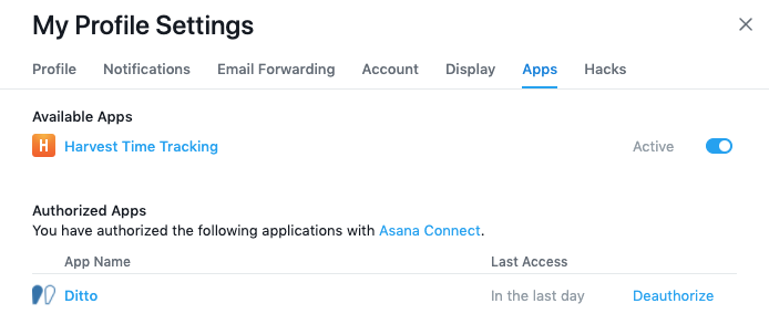 Screenshot of the Asana 'Apps' configuration tab
